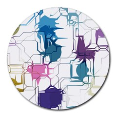 Cracked Wall                                 			round Mousepad by LalyLauraFLM