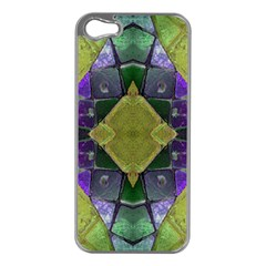 Purple Yellow Stone Abstract Apple Iphone 5 Case (silver) by BrightVibesDesign