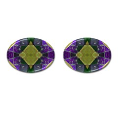 Purple Yellow Stone Abstract Cufflinks (oval) by BrightVibesDesign