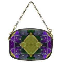 Purple Yellow Stone Abstract Chain Purses (one Side)  by BrightVibesDesign