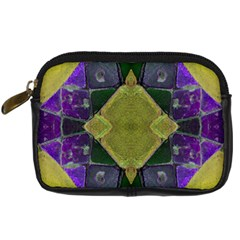 Purple Yellow Stone Abstract Digital Camera Cases by BrightVibesDesign