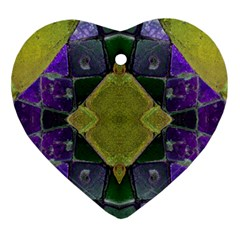 Purple Yellow Stone Abstract Ornament (heart)  by BrightVibesDesign