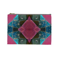 Pink Turquoise Stone Abstract Cosmetic Bag (large)  by BrightVibesDesign