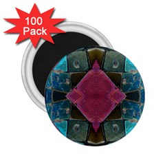 Pink Turquoise Stone Abstract 2 25  Magnets (100 Pack)  by BrightVibesDesign