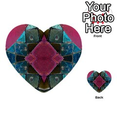 Pink Turquoise Stone Abstract Multi Purpose Cards (heart)  by BrightVibesDesign