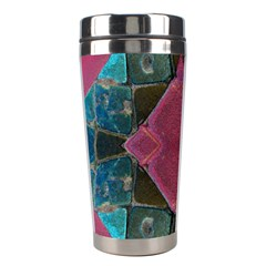 Pink Turquoise Stone Abstract Stainless Steel Travel Tumblers by BrightVibesDesign