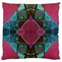 Pink Turquoise Stone Abstract Large Flano Cushion Case (two Sides) by BrightVibesDesign