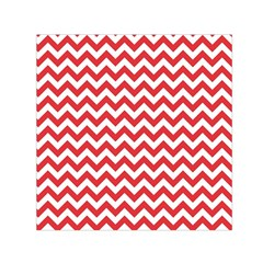 Poppy Red & White Zigzag Pattern Small Satin Scarf (square)