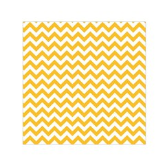 Sunny Yellow & White Zigzag Pattern Small Satin Scarf (square)