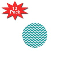 Turquoise & White Zigzag Pattern 1  Mini Button (10 Pack)