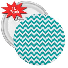 Turquoise & White Zigzag Pattern 3  Button (10 Pack)