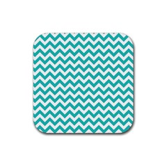 Turquoise & White Zigzag Pattern Rubber Coaster (square) by Zandiepants