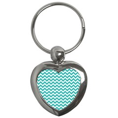 Turquoise & White Zigzag Pattern Key Chain (heart)