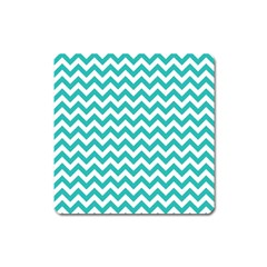 Turquoise & White Zigzag Pattern Magnet (square)