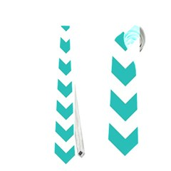 Turquoise & White Zigzag Pattern Necktie (one Side) by Zandiepants