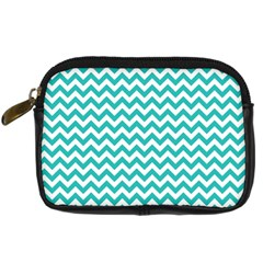 Turquoise & White Zigzag Pattern Digital Camera Leather Case