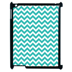 Turquoise & White Zigzag Pattern Apple Ipad 2 Case (black)