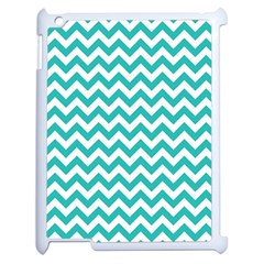 Turquoise & White Zigzag Pattern Apple Ipad 2 Case (white) by Zandiepants