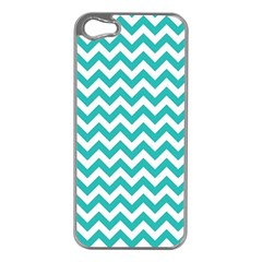 Turquoise & White Zigzag Pattern Apple Iphone 5 Case (silver)