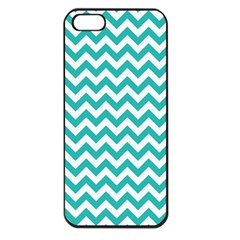 Turquoise & White Zigzag Pattern Apple Iphone 5 Seamless Case (black) by Zandiepants