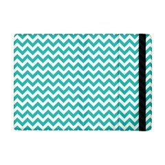 Turquoise & White Zigzag Pattern Apple Ipad Mini Flip Case