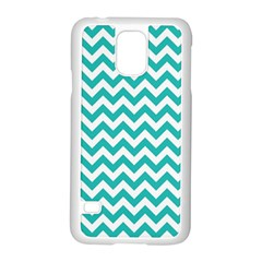 Turquoise & White Zigzag Pattern Samsung Galaxy S5 Case (white)