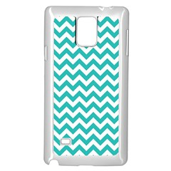 Turquoise & White Zigzag Pattern Samsung Galaxy Note 4 Case (white)