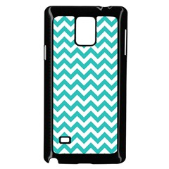 Turquoise & White Zigzag Pattern Samsung Galaxy Note 4 Case (black)