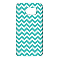 Turquoise & White Zigzag Pattern Samsung Galaxy S6 Hardshell Case  by Zandiepants