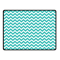 Turquoise & White Zigzag Pattern Double Sided Fleece Blanket (small)