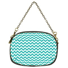 Turquoise & White Zigzag Pattern Chain Purse (two Sides)