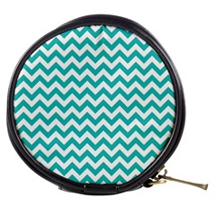 Turquoise & White Zigzag Pattern Mini Makeup Bag