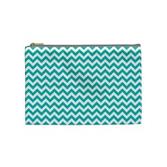 Turquoise & White Zigzag Pattern Cosmetic Bag (medium)