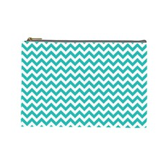 Turquoise & White Zigzag Pattern Cosmetic Bag (large)