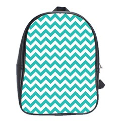 Turquoise & White Zigzag Pattern School Bag (xl)
