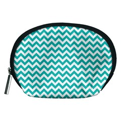 Turquoise & White Zigzag Pattern Accessory Pouch (medium)