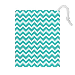 Turquoise & White Zigzag Pattern Drawstring Pouch (xl)
