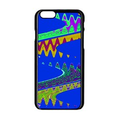 Colorful Wave Blue Abstract Apple Iphone 6/6s Black Enamel Case by BrightVibesDesign