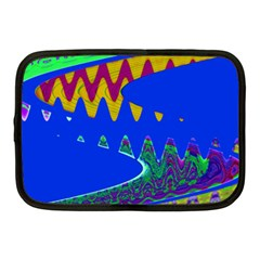 Colorful Wave Blue Abstract Netbook Case (medium)  by BrightVibesDesign