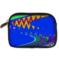 Colorful Wave Blue Abstract Digital Camera Cases by BrightVibesDesign