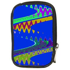 Colorful Wave Blue Abstract Compact Camera Cases by BrightVibesDesign