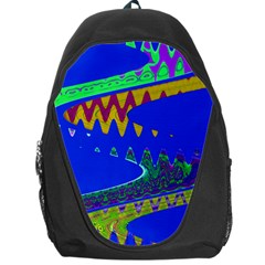 Colorful Wave Blue Abstract Backpack Bag by BrightVibesDesign