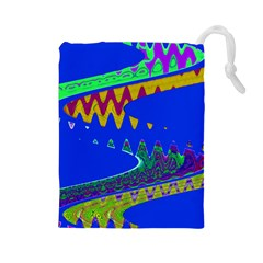 Colorful Wave Blue Abstract Drawstring Pouches (large)  by BrightVibesDesign