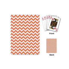 Tangerine Orange & White Zigzag Pattern Playing Cards (mini) by Zandiepants