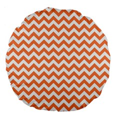 Tangerine Orange & White Zigzag Pattern Large 18  Premium Flano Round Cushion  by Zandiepants