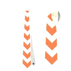 Tangerine Orange & White Zigzag Pattern Necktie (two Side)