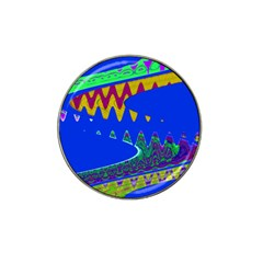 Colorful Wave Blue Abstract Hat Clip Ball Marker by BrightVibesDesign