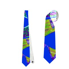 Colorful Wave Blue Abstract Neckties (one Side)  by BrightVibesDesign