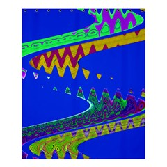 Colorful Wave Blue Abstract Shower Curtain 60  X 72  (medium)  by BrightVibesDesign