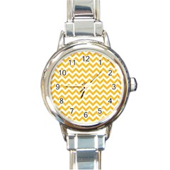 Sunny Yellow & White Zigzag Pattern Round Italian Charm Watch